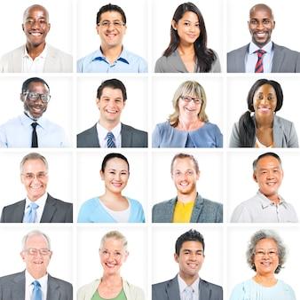 Portret wieloetnicznych, zróżnicowanych ludzi biznesu