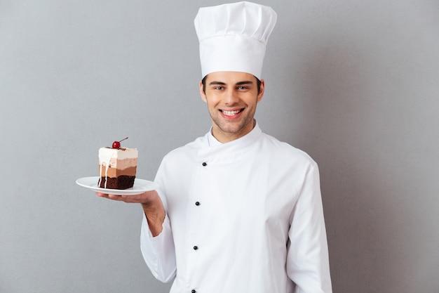 Portret zadowolony szczęśliwy męski szef kuchni