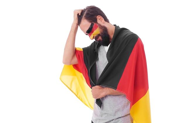 Portret zrozpaczonego męskiego fana piłki nożnej