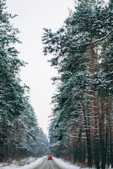 Poruszający się samochód na leśnej drodze w śniegu