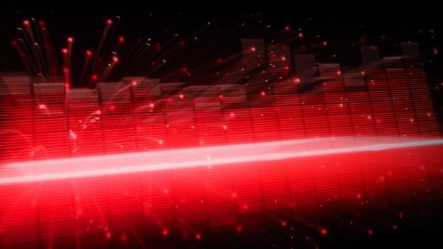 Poruszający się szybki pasek korektora muzyki. reprezentują głębsze brzmienie i emocjonalne brzmienie muzyki. korektor dźwięku na czarnym tle. wizualizator streszczenie. cyfrowy wykres porusza się i świeci w ciemności.