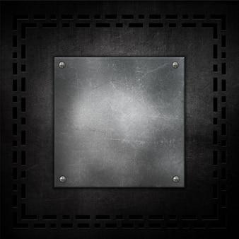 Porysowany grunge metalu tło z kruszcowym talerzem