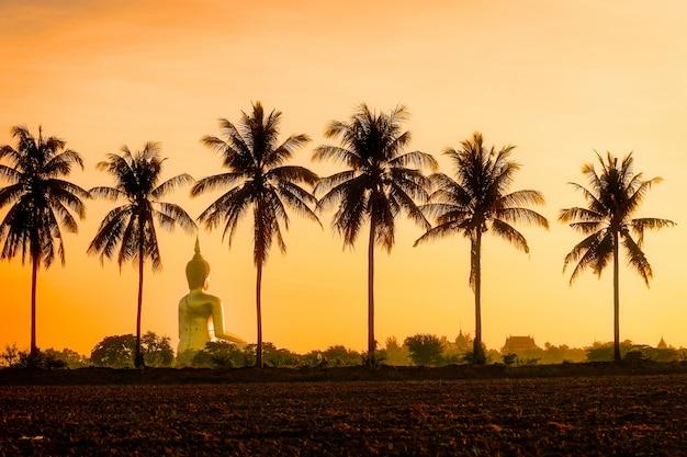 Posąg buddy w wat muang ang thong po środku pola ryżu