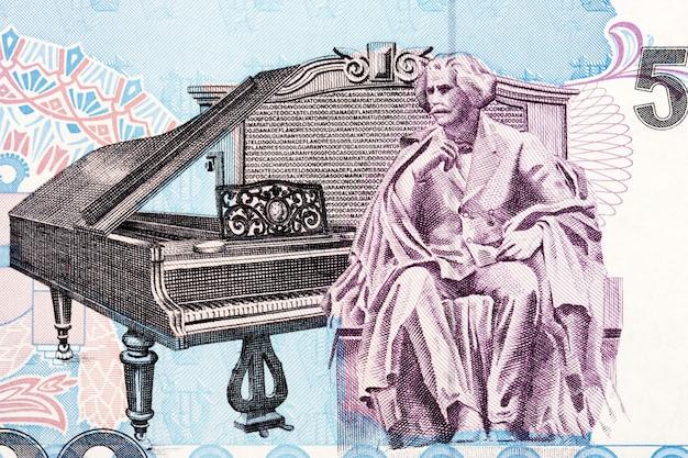 Posąg carlosa gomesa siedzącego przy fortepianie ze starych brazylijskich pieniędzy