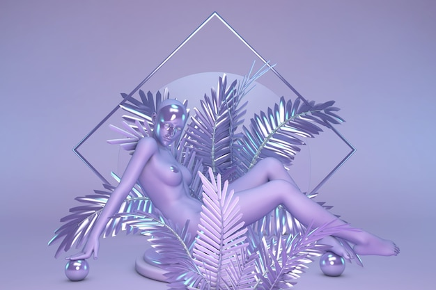 Posąg kobiety z maską na twarzy siedzącej w fioletowych świecących palmach kompozycja geometryczna cyfrowa sztuka abstrakcyjna fantasy