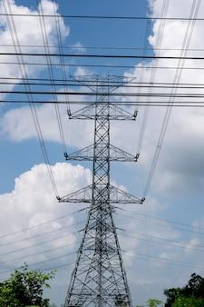 Post energii elektrycznej na tle błękitnego nieba.