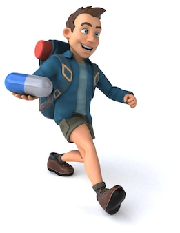 Postać człowieka z plecakiem z kreskówki 3d