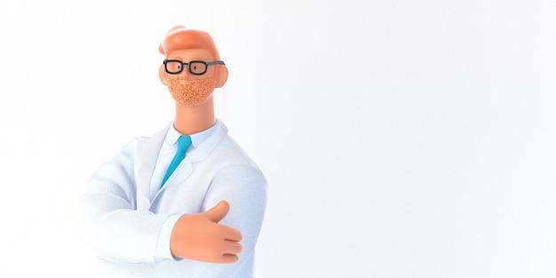 Postać z kreskówki 3d. szablon ubezpieczenia medycznego - nowoczesna koncepcja 3d ilustracja, portret lekarza.