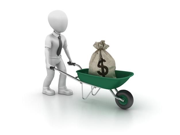 Postać z kreskówki biznes z taczki i dolar torba