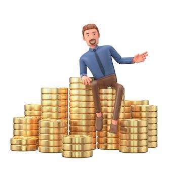 Postać z kreskówki biznesmen i monety idzie sukces finansowy.