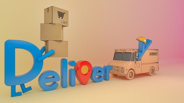 Postać z kreskówki dostawy czcionki z furgonetką i wieloma paczkami., usługa transportu zamówień mobilnych online, renderowanie 3d.