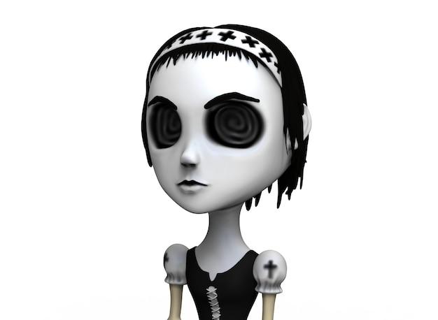 Postać z kreskówki horror dziewczyna w sukience vintage 3drendering