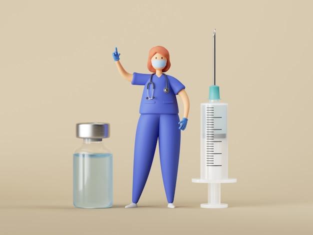 Postać z kreskówki kobieta lekarz z dużą strzykawką i szklaną butelką z przezroczystym niebieskim płynem