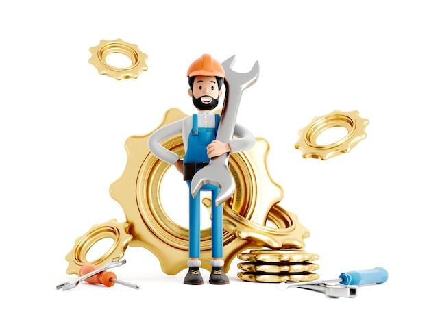 Postać z kreskówki mechanik budowniczego, zabawny pracownik lub inżynier z biegami i dużym kluczem