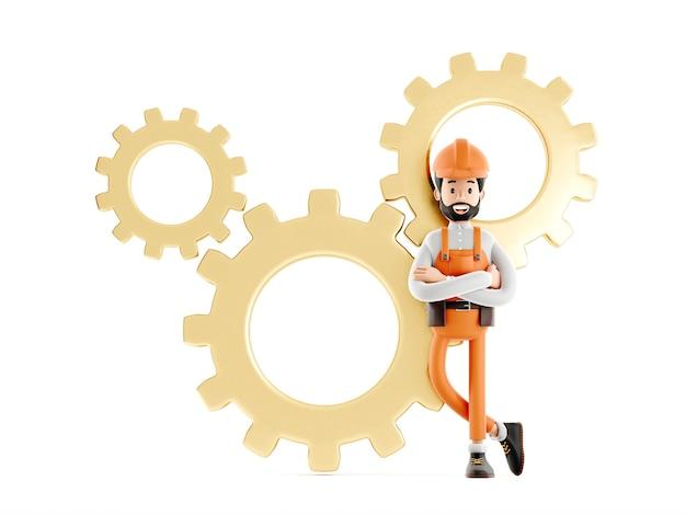 Postać z kreskówki mechanik budowniczego, zabawny pracownik lub inżynier z biegami z tyłu na białym tle ikona