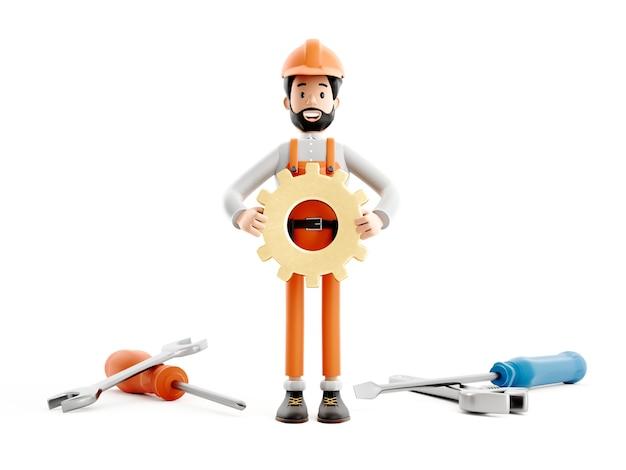 Postać z kreskówki mechanik budowniczego, zabawny pracownik lub inżynier z ikoną na białym tle kół zębatych