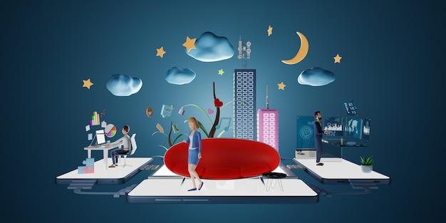 Postacie przedsiębiorców korzystających z telefonu w wirtualnym biurze z inteligentną platformą danych. koncepcja marketingu mediów społecznościowych. renderowania 3d.