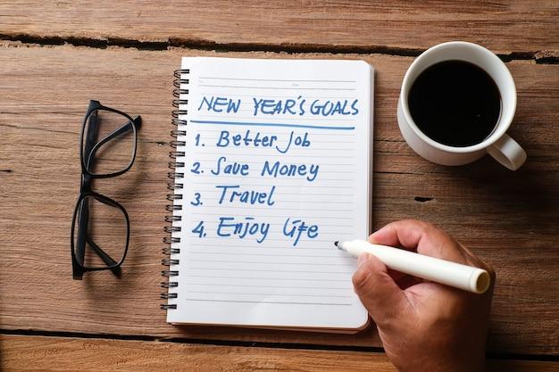 Postanowienia 2021, plany życiowe, biznes, zbliżenie człowieka piszącego i przygotowującego się do nowego roku 2021