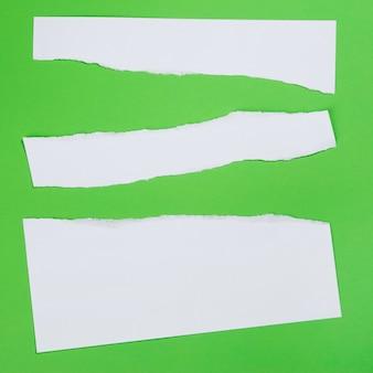 Poszarpany papier na zielonym tle