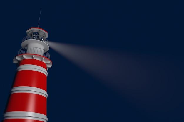 Potężna latarnia morska oświetlona nocą. renderowanie 3d