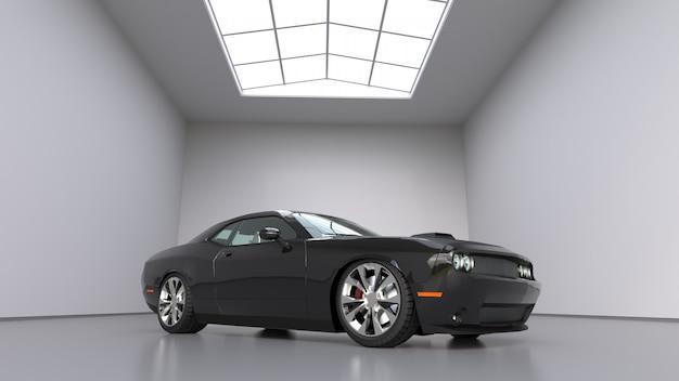 Potężny czarny koncepcyjny samochód sportowy