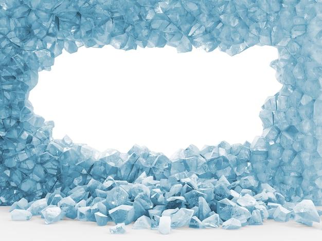 Potłuczona ściana lodu z dużą dziurą