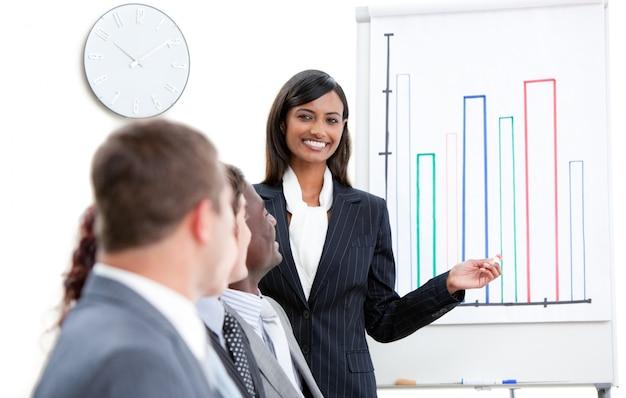 Powabny bizneswoman wskazuje przy białą deską