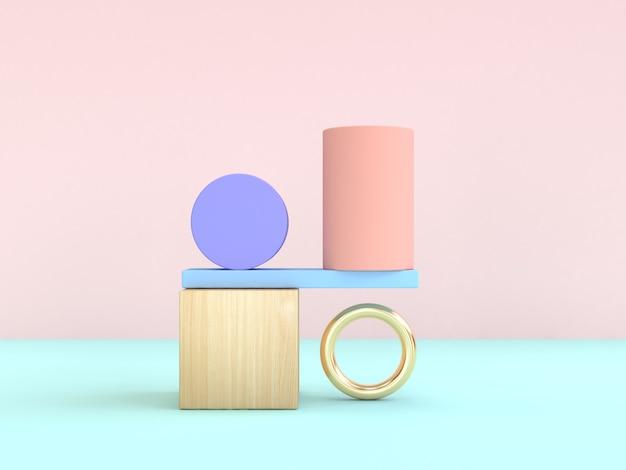 Powaga. abstrakcyjny kształt geometryczny pastelowe kolorowe renderowania 3d