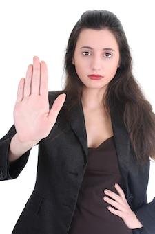 Poważna kobieta biznesu mówi nie