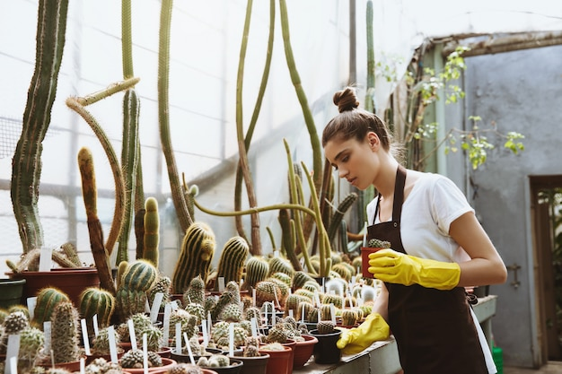 Poważna młodej kobiety pozycja w szklarni blisko roślin