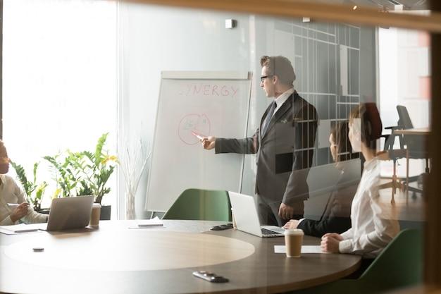 Poważny biznesmen przedstawiający cele biznesowe firmy do kolegów