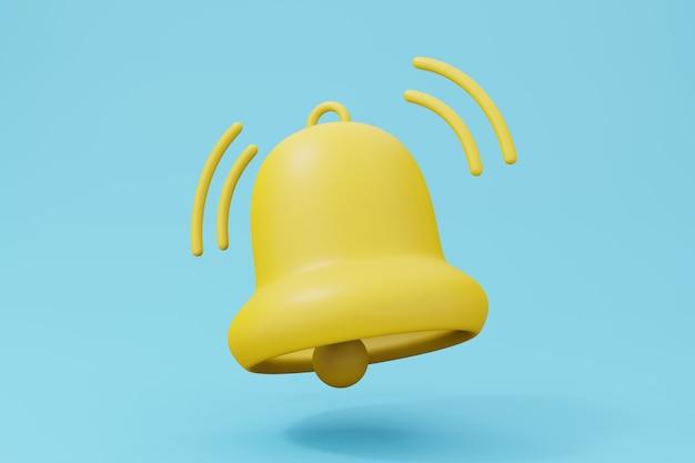 Powiadomienie o wiadomości dzwonka 3d render ilustracja w pastelowym kolorze.