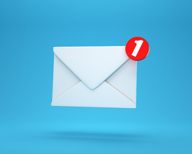 Powiadomienie pocztą jedna nowa wiadomość e-mail w koncepcji skrzynki odbiorczej na białym tle na niebieskim tle z renderowania 3d w tle