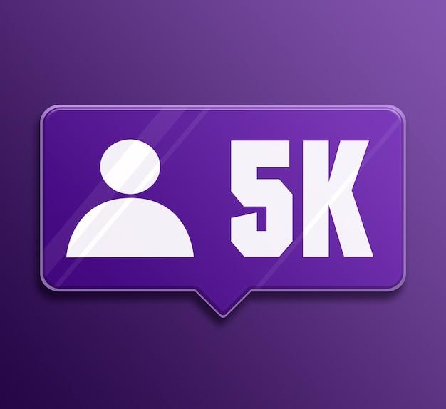 Powiadomienie w mediach społecznościowych 5k obserwujących szklana bańka mowy 3d
