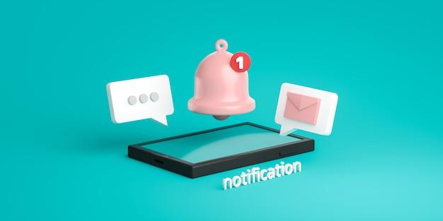 Powiadomienie z wiadomością dzwonka ikona ostrzeżenia i alarm na pastelowym tle