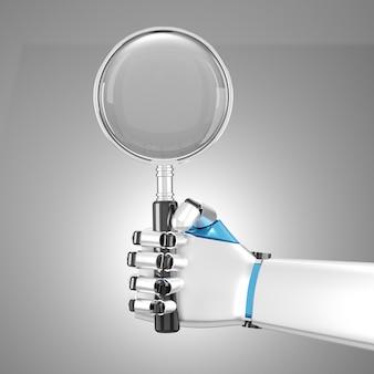 Powiększ szkło trzymane w dłoni robota. słowo kluczowe w wyszukiwarce technologii. obraz ze ścieżką przycinającą. ilustracja renderowania obrazu 3d.