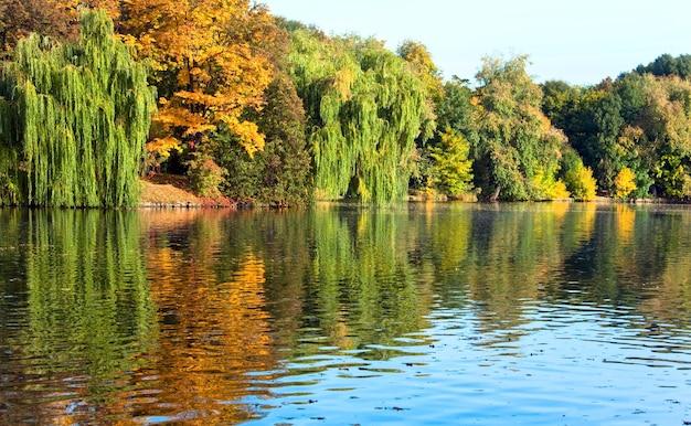 Powierzchni wody staw z odbiciem kolorowych drzew w parku jesienią
