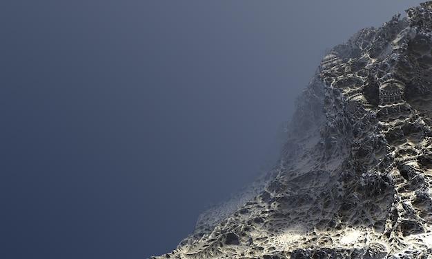 Powierzchnia 3d, fraktal, w postaci kamiennej skały, z miejscem na tekst