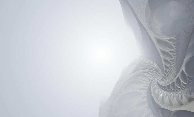 Powierzchnia 3d w formie fraktala, z prawej strony, biała, z miejscem na tekst