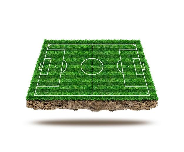 Powierzchnia boiska do piłki nożnej i izolować na tle. zielona trawa boiska do piłki nożnej