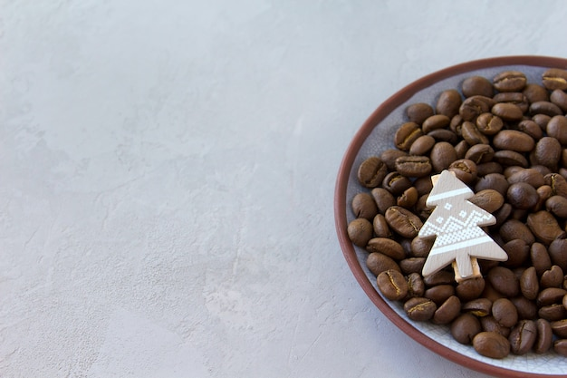 Powierzchnia kawy szczęśliwy magiczne wakacje z bożym narodzeniem
