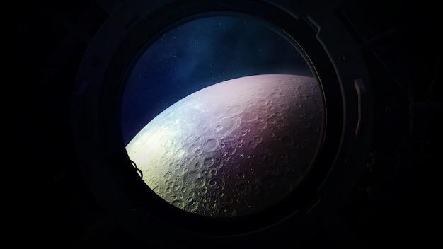 Powierzchnia księżyca z iluminatora statku kosmicznego.