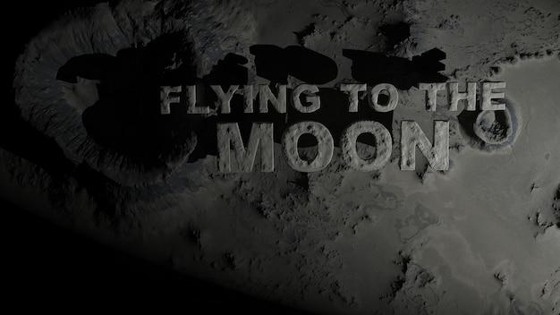 """Powierzchnia księżyca z kraterami z napisem """"lecąc na księżyc"""""""