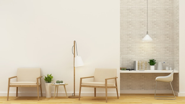 Powierzchnia mieszkalna i miejsce do pracy - renderowanie 3d