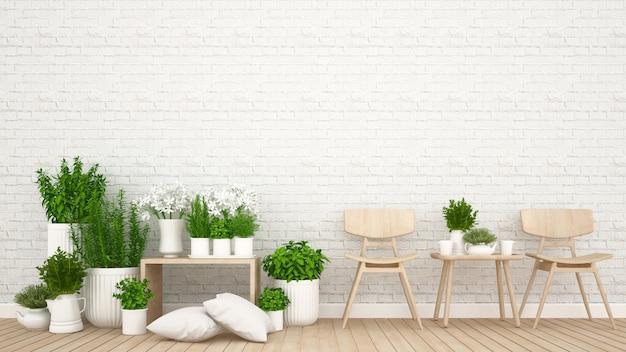 Powierzchnia mieszkalna w kawiarni lub kawiarni - renderowanie 3d