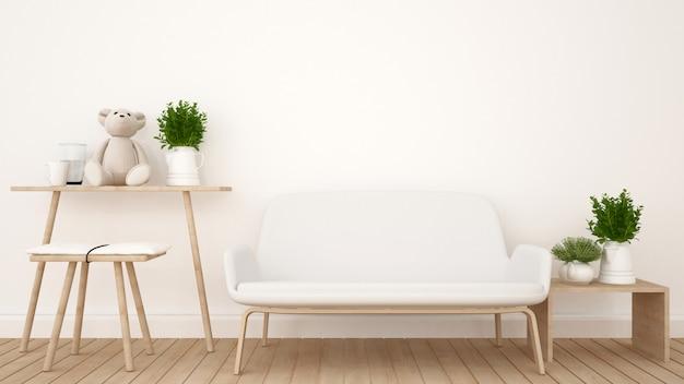 Powierzchnia mieszkalna w kawiarni lub pokoju dziecięcym - renderowanie 3d