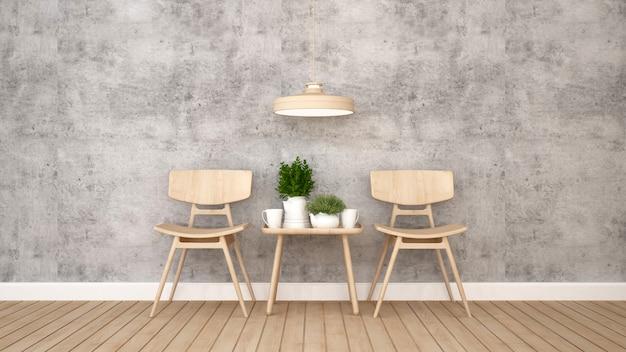 Powierzchnia mieszkalna w restauracji lub kawiarni - rendering 3d