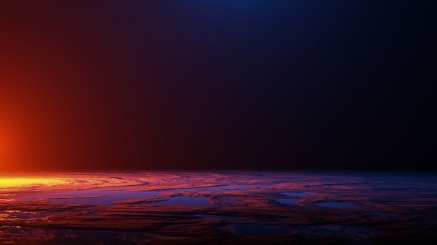 Powierzchnia planety, podróż kosmiczna, koncepcja wszechświata, renderowanie 3d