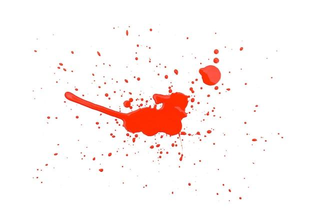 Powierzchnia rozchlapywania streszczenie czerwona farba akwarela. czerwony rozchlapać akwarela na białym tle