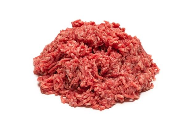 Powierzchnia surowego mięsa mielonego wołowego
